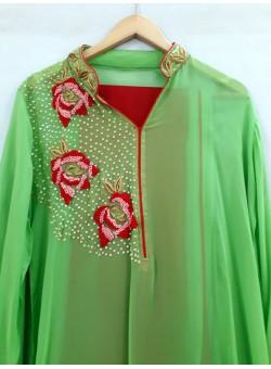 Green Cotton Silk Salwar Georgettee Kameez Chiffon Dupatta HC-1