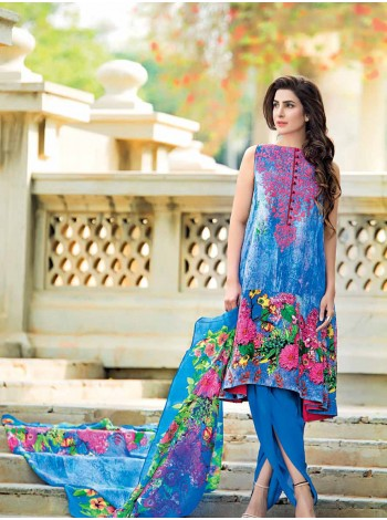 Unstitch, Women's/Girls Collections, Bamboo Silk Printed Shirt,Embroidered Neckline,Silk Dupatta and Dyed Salwar Kameez(3Pcs), Blue Collor.