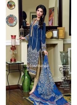 Unstitch,Branded, Women's/Girls Collections,Silk & Chiffon Embroidered Shirt,Chiffon Dupatta and Dyed Salwer Kameez(3pcs)