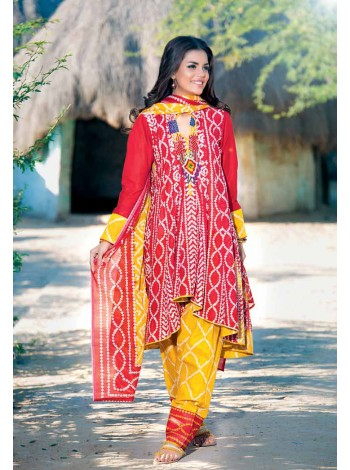 Unstitch, Women's/Girls Collections, Bandhani Cotton Printed Shirt,Dupatta and Dyed Salwar Kameez(3Pcs), Red Color.