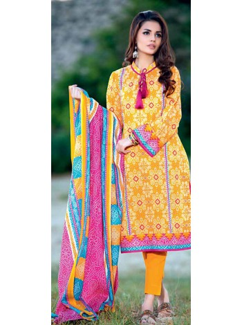 Unstitch, Women's/Girls Collections, Bandhani Cotton Printed Shirt,Dupatta and Dyed Salwar Kameez(3Pcs), Yellow Color.