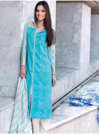 Unstitch,Branded, Women's/Girls Collections,Embroidered Cotton Lawn Shirt and Printed Dupatta salwar kameez(3pcs)