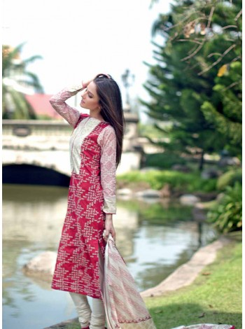 Unstitch,Branded, Women's/Girls Collections, Embroidered Cotton Lawn Shirt and Printed Sleeves Salwar Kameez(3pcs)