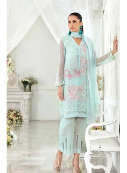 Unstitch,Branded, Women's/Girls Collections,Embroidered Blended Chiffon Dupatta, Front, Side Panel, Back, Sleeves with Sequins, Pearls Dyed Inner & Bottom(3pcs)