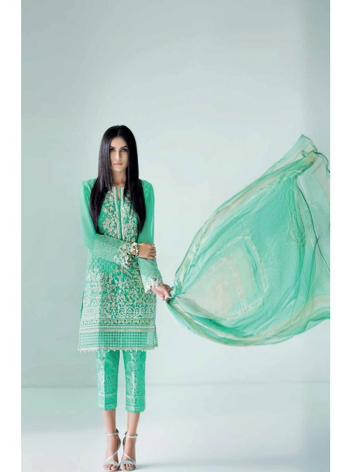 Unstitch,Branded, Women's/Girls Collections,Embroidered Blended Chiffon Front, Embroidered  Neckline, diamantes & sequins, Embroidered Patches, Printed Bottom & Dyed Inner with Digital Printed Blended Chiffon Dupatta