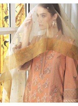 Unstitch,Branded, Women's/Girls Collections,Embroidered Karandi Net Front with Sequins, Embroidered Dupatta, Embroidered Back, Sleeves, Zari Tassels &  Dyed Inner, Salwar Kameez
