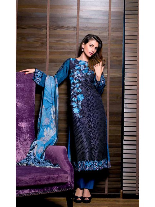 Unstitch,Branded, Women's/Girls Collections,Chiffon Embroidered Front Printed Back Embroidered Sleeves Printed Chiffon Dupatta dyed Salwar kameez(3pcs)