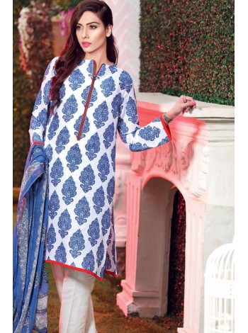 Unstitch,Branded, Women's/Girls Collections,Organic Silk Lawn Printed Shirt,Chiffon Dupatta and Dyed Salwar Kameez(3pcs)