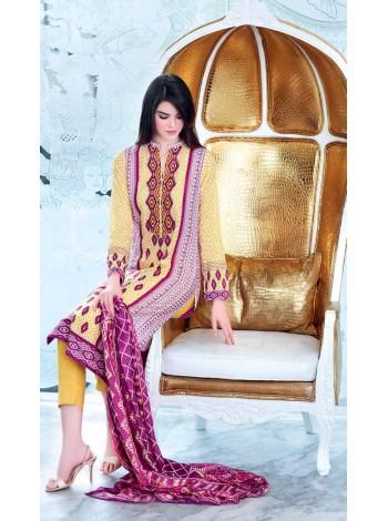 Unstitch,Branded, Women's/Girls Collections,Satin Silk Trencia Printed Shirt,Silk Dupatta and Dyed Salwar Kameez(3pcs)