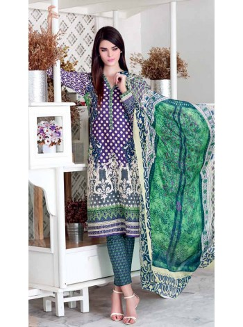 Unstitch,Branded, Women's/Girls Collections,Satin Silk Trencia Printed Shirt & Sleeves,Silk Dupatta and Printed Salwar Kameez(3pcs)