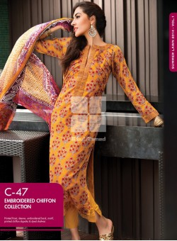 Unstitch,Branded, Women's/Girls Collections,Embroidered Chiffon Printed Front,Chiffon Dupatta and Dyed Salwar Kameez(3pcs)