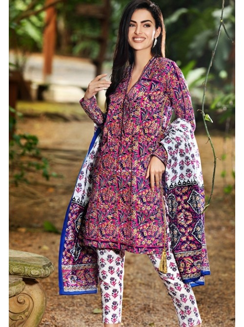 Unstitch,Branded, Women's/Girls Collections,Lawn Cotton Printed Shirt & Dupatta and Dyed Salwer Kameez(3pcs)