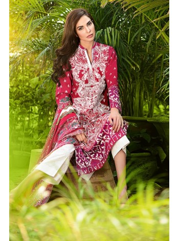 Unstitch,Branded, Women's/Girls Collections,Satin Silk Trencia Embroidered Front,Silk Dupatta and Printed Salwar Kameez(3pcs)
