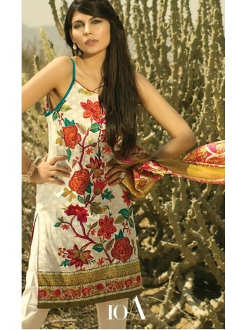 Unstitch,Branded, Women's/Girls Collections,(3pcs) Woven Embroidered Shirt Front & Printed Back,Silk Dupatta and Dyed Salwar Kameez