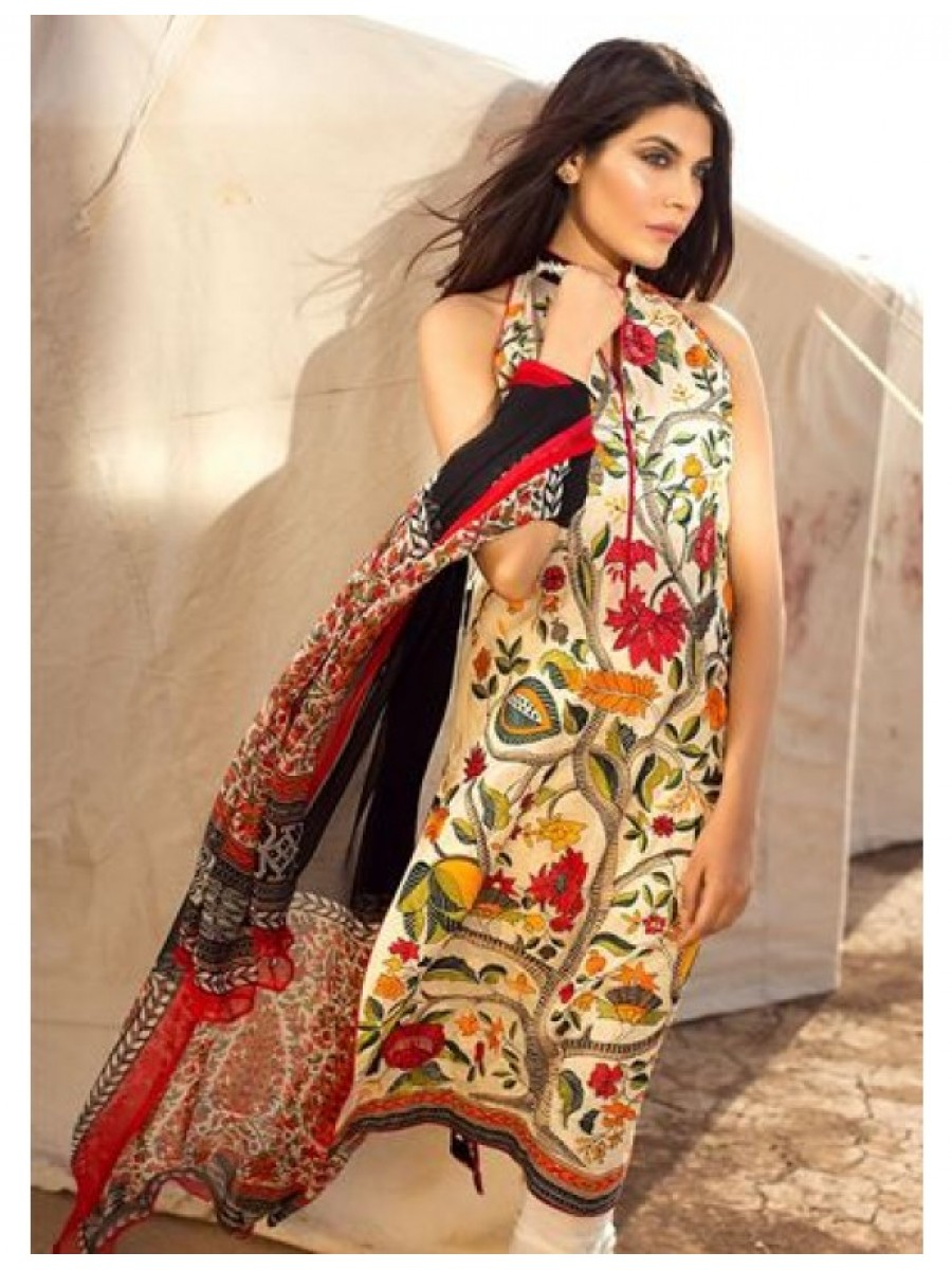 bbbc8497f8 Woven Embroidered Shirt Front & Printed Back,Crinkle Chiffon Dupatta and  Dyed Salwar Kameez