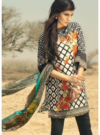 Unstitch,Branded, Women's/Girls Collections,Embroidered Printed Front,Silk Dupatta and Dyed Salwer Kameez(3pcs)