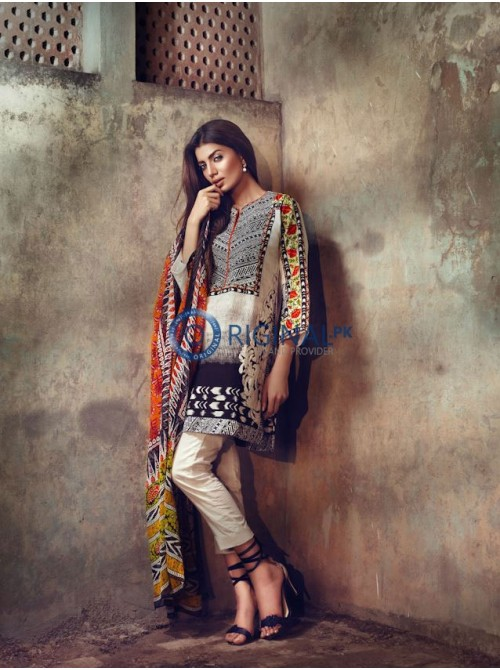 Unstitch,Branded, Women's/Girls Collections,(3pcs)Woven Shirt Front & Back,Crinkle Chiffon Dupatta and Dyed Salwar Kameez