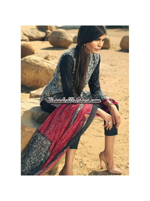 Unstitch,Branded, Women's/Girls Collections,Lawn Embroidered Front,Printed Back,Crinkle Chiffon Dupatta and Dyed Salwer Kameez(3pcs)