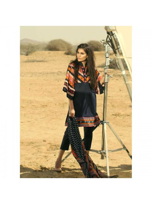 Unstitch,Branded, Women's/Girls Collections,Lawn Embroidered Front & Dyed Back,Crinkle Chiffon Dupatta and Dyed Salwer Kameez(3pcs)