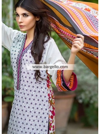 Unstitch,Branded, Women's/Girls Collections,EmbroideredCotton Front,Silk Dupatta and Printed Salwar Kameez(3pcs)
